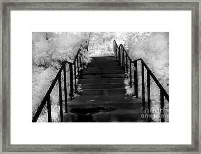 Surreal Fantasy Black And White Stairs Nature  Framed Print by Kathy Fornal