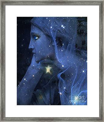 Surreal Fantasy Celestial Blue Angelic Face With Stars Framed Print by Kathy Fornal