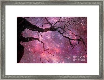 Surreal Fantasy Celestial Nature Trees Dreamscape Stars And Fairy Lights Framed Print by Kathy Fornal