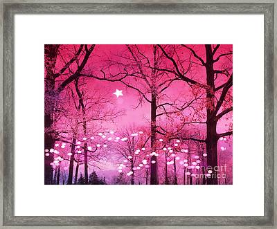 Surreal Fantasy Fairytale Dark Pink Haunting Woodlands Nature With Stars And Twinkling Lights Framed Print by Kathy Fornal