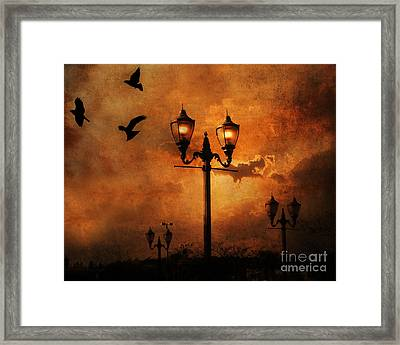 Surreal Fantasy Gothic Night Lanterns Ravens  Framed Print by Kathy Fornal