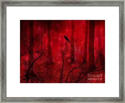 Surreal Fantasy Gothic Red Woodlands Raven Trees Framed Print by Kathy Fornal