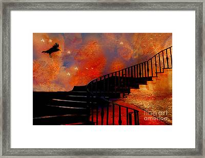 Surreal Fantasy Gothic Black Staircase With Flying Ravens - Surreal Orange Black Fantasy Art Framed Print by Kathy Fornal