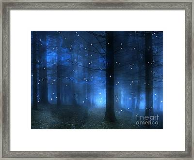 Surreal Fantasy Haunting Blue Sparkling Woodlands Forest Trees With Stars - Starlit Fantasy Nature Framed Print by Kathy Fornal