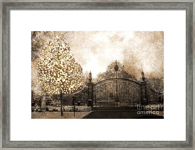 Surreal Fantasy Haunting Gate With Sparkling Tree Framed Print by Kathy Fornal