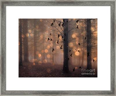 Surreal Fantasy Fairytale Haunting Woodlands Brown Surreal Nature Trees Birds Flying Framed Print by Kathy Fornal