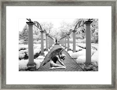 Surreal Fantasy Infrared Angel Wings In Dream World Framed Print by Kathy Fornal