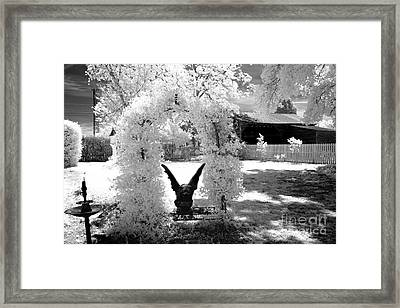 Surreal Black And White Infrared Gargoyle In Park - Gothic Gargoyle Infrared Nature Landscape Framed Print by Kathy Fornal