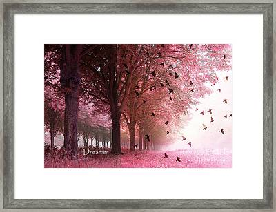Surreal Fantasy Pink Nature Forest Woods With Birds Flying  Framed Print by Kathy Fornal