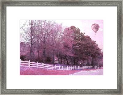 Surreal Fantasy Pink Nature Country Road With Hot Air Balloon Framed Print by Kathy Fornal