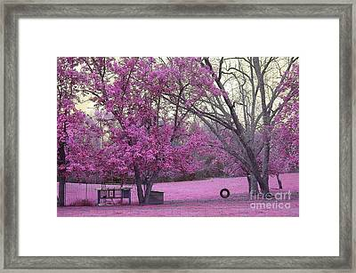 Surreal Fantasy South Carolina Pink Fall Landscape With Swing Framed Print by Kathy Fornal