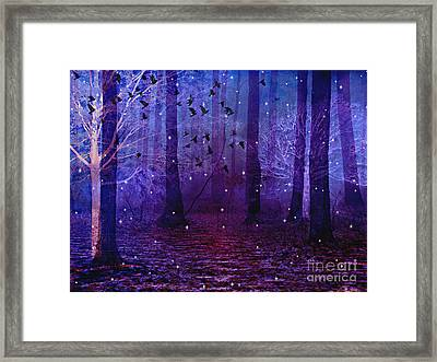Surreal Fantasy Starry Night Purple Woodlands - Purple Blue Fantasy Nature Fairy Lights  Framed Print by Kathy Fornal
