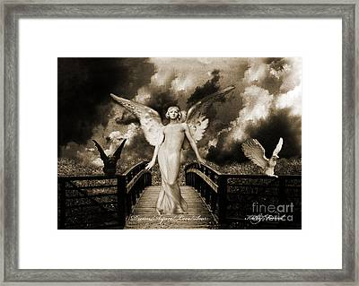 Surreal Gothic Angel With Gargoyle And Eagle Framed Print by Kathy Fornal