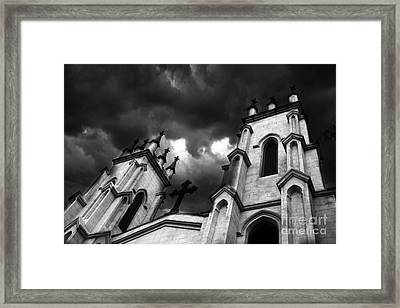 Surreal Gothic Black And White Church Steeple With Cross - Haunting Spooky Surreal Gothic Church Framed Print by Kathy Fornal