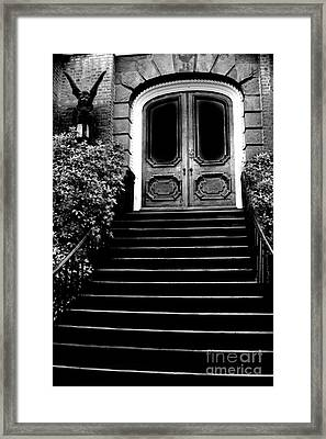 Charleston Surreal Gothic Black And White Staircase And Door With Gargoyle Framed Print by Kathy Fornal