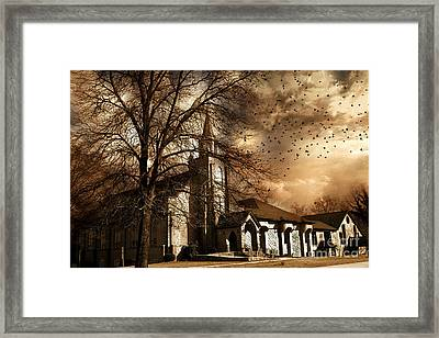 Surreal Gothic Church Fall Autumn Dark Sky And Flying Ravens  Framed Print by Kathy Fornal