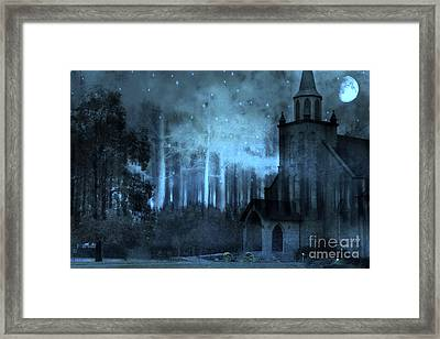 Surreal Gothic Church Full Moon And Stars Framed Print by Kathy Fornal