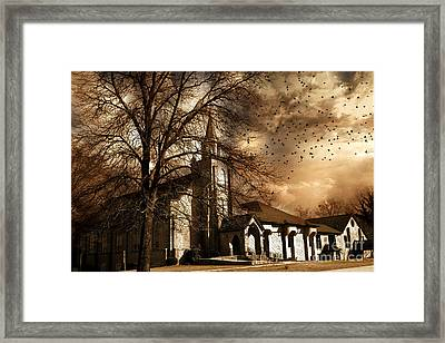 Surreal Gothic Church With Storm Skies And Birds Flying Framed Print by Kathy Fornal