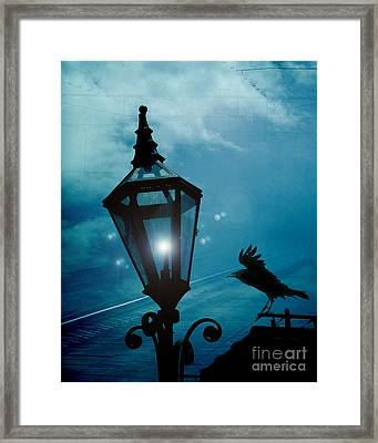 Surreal Gothic Fantasy Dark Night Street Lantern With Flying Raven  Framed Print by Kathy Fornal