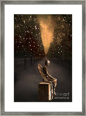 Surreal Gothic Haunting Emotive Angel Sitting On Bench   Framed Print by Kathy Fornal
