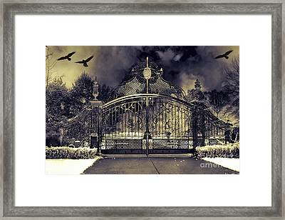 Surreal Gothic Haunting Gate With Flying Ravens Framed Print by Kathy Fornal