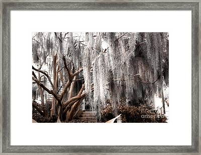 Surreal Gothic Savannah House Spanish Moss Hanging Trees - Savannah Sepia Brown Moss Trees Framed Print by Kathy Fornal