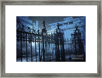 Surreal Gothic Savannah Mansion Black Rod Iron Gates Framed Print by Kathy Fornal