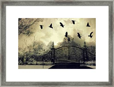Surreal Gothic Spooky Haunting Gate With Ravens Framed Print by Kathy Fornal