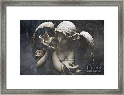 Ethereal Guardian Angel With Dove Of Peace Framed Print by Kathy Fornal