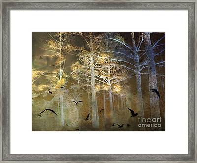 Surreal Haunting Fantasy Nature With Flying Ravens Framed Print by Kathy Fornal