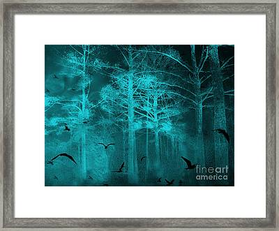 Surreal Haunting Fantasy Teal Green Nature Trees With Flying Ravens  Framed Print by Kathy Fornal