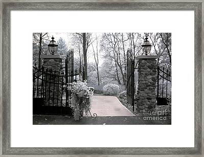 Surreal Haunting Infrared Nature Gate Scene Framed Print by Kathy Fornal