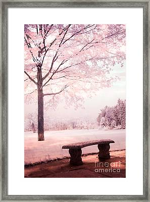 Surreal Infrared Dreamy Pink And White Park Bench Tree Nature Landscape Framed Print by Kathy Fornal