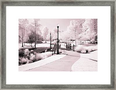Surreal Infrared Dreamy Pink And White Park Tree Nature Path Landscape Framed Print by Kathy Fornal