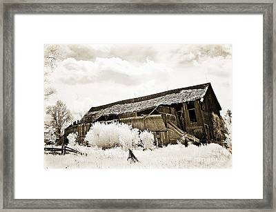 Surreal Infrared Sepia Old Crumbling Barn Landscape - The Passage Of Time Framed Print by Kathy Fornal