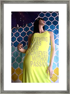 Surreal Mannequin Female In Yellow Dress - Summer Fashion Photography - Typography Quote Framed Print by Kathy Fornal