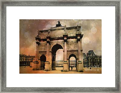 Surreal Paris Arc De Triomphe Louvre Arch Courtyard Sepia Soft Bokeh Framed Print by Kathy Fornal