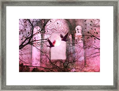 Surreal Pink Fantasy Forest Trees Nature With Flying Ravens Framed Print by Kathy Fornal