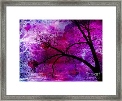Surreal Abstract Fantasy Purple Pink Trees Hot Air Balloons Framed Print by Kathy Fornal