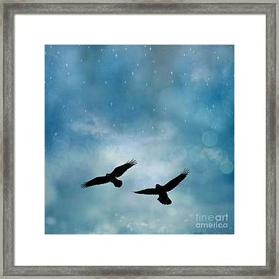Surreal Ravens Crows Flying Blue Sky Stars Framed Print by Kathy Fornal