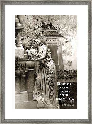 Surreal Romantic Female Cemetery Mourner At Grave Framed Print by Kathy Fornal