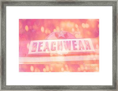Surreal Summer Beachwear Sign - Mrytle Beach South Carolina Framed Print by Kathy Fornal