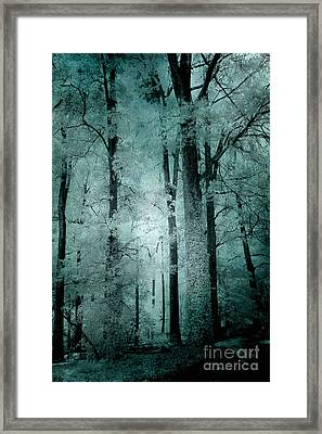Surreal Trees Fantasy Dark Eerie Haunting Teal Green Woodlands Forest - Lost In The Woods Framed Print by Kathy Fornal