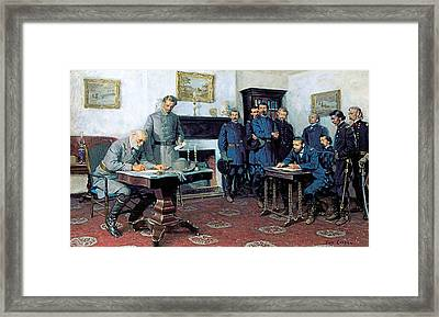 Surrender At Appomattox Framed Print by Tom Lovell
