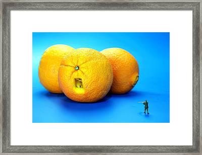 Surrender Mr. Oranges Little People On Food Framed Print by Paul Ge