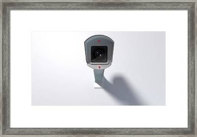 Surveillance Camera On White Framed Print by Allan Swart