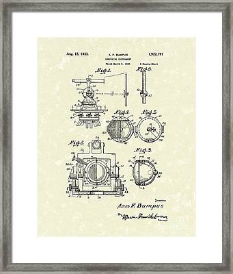 Surveying Instrument 1933 Patent Art Framed Print by Prior Art Design