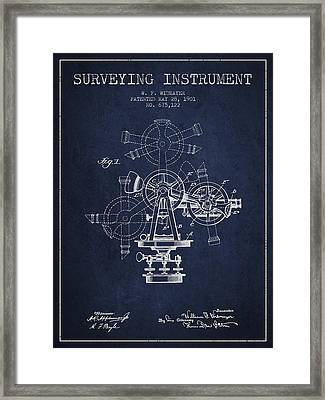 Surveying Instrument Patent From 1901 - Navy Blue Framed Print by Aged Pixel