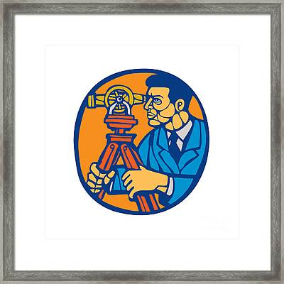 Surveyor Geodetic Theodolite Woodcut Linocut Framed Print by Aloysius Patrimonio