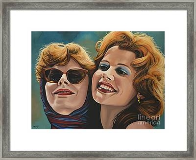 Susan Sarandon And Geena Davies Alias Thelma And Louise Framed Print by Paul Meijering
